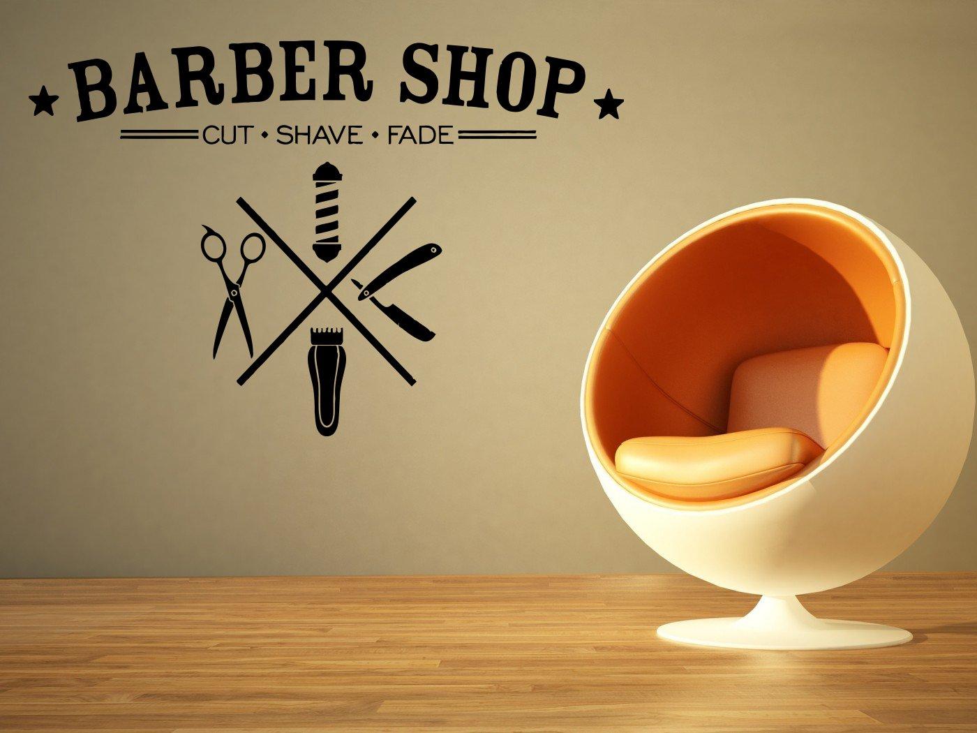 Removable Vinyl Sticker Mural Decal Art Outdoor Indoor Business Barber Shop Hair Beauty Salon Spa Sign Logo Emblem Scissors Tools Name SA023
