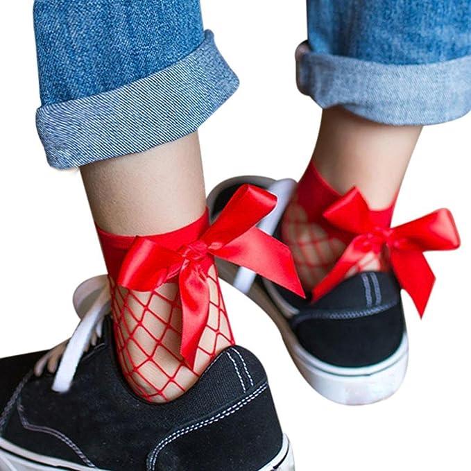 Medias Calcetines, a las mujeres populares Vintage negro malla gruesa calcetines calcetines de corte anatómico con un lazo F Talla única: Amazon.es: Ropa y ...