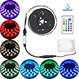 Battery Powered Led Strip Lights,abtong Led Light Strip with Remote Waterproof Led Strip Rope Lights Multi Color Changing Led Lights Led Strip Lighting-2M/6.56ft