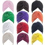 ALICE Polyester Turban Sun Cap Headband Head Wrap Head Cover Hat - 1 Dozen ASSORTCOLOR