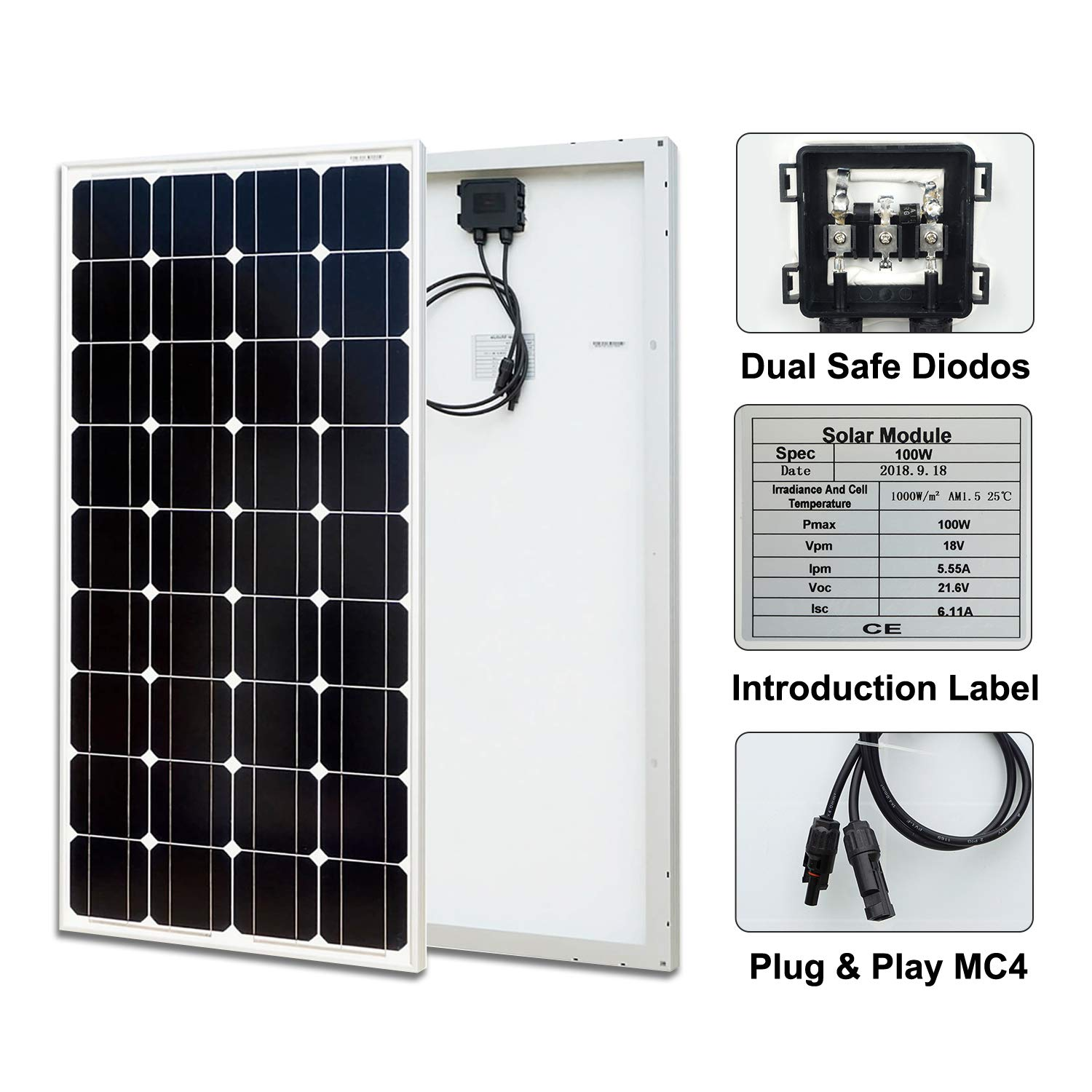 ECO-WORTHY 20 Watts Epoxy Solar Panel with 2m Cable /& 30A Clip for 12V Camping Battery Charger