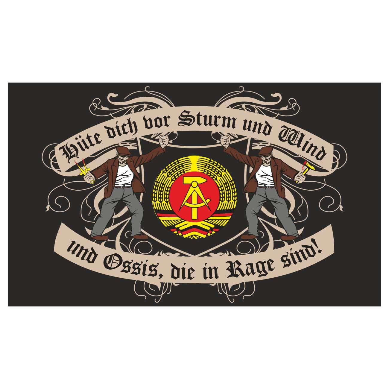 90 x 150 cm Fahne Flagge DDR Sachsen Anhalt Hüte dich vor Sturm Wind