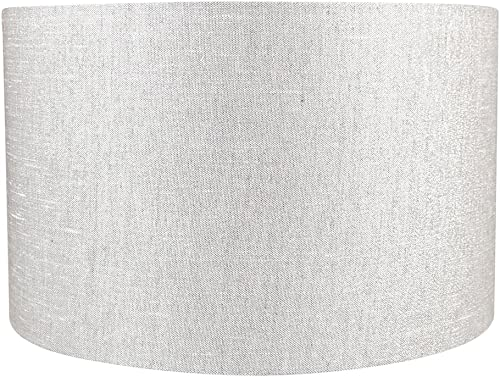 Urbanest Classic Drum Metallic Fabric Lampshade, 16-inch by 16-inch by 10-inch, Metallic Gray