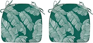 FBTS Prime Outdoor Chair Cushions (Set of 2) 16x17 Inch Patio Seat Cushions Navy Green and White Stripe Square Chair Pads for Outdoor Patio Furniture Garden Home Office