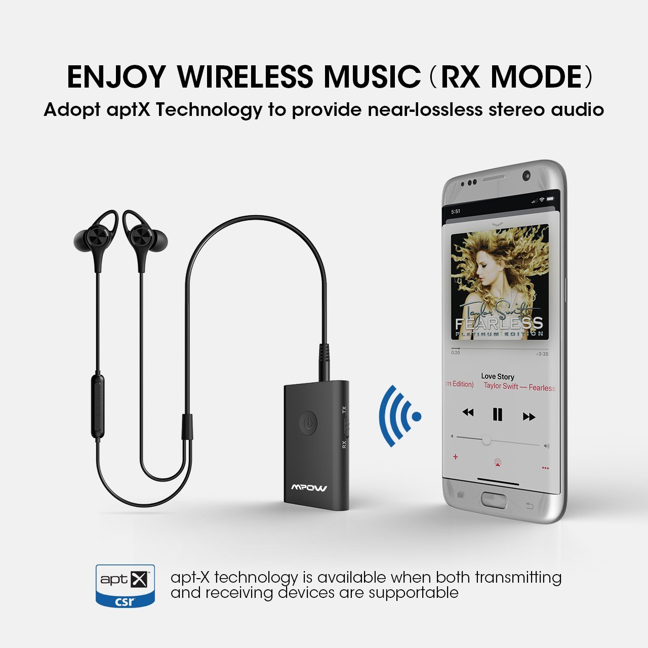 Mpow Bluetooth 42 Transmitter And Receiver 2 In 1 Simple Fm Radio Circuit Use Your Mobile Phones Wireless Adapter With Aptx For Cd Like Voice Enjoyment