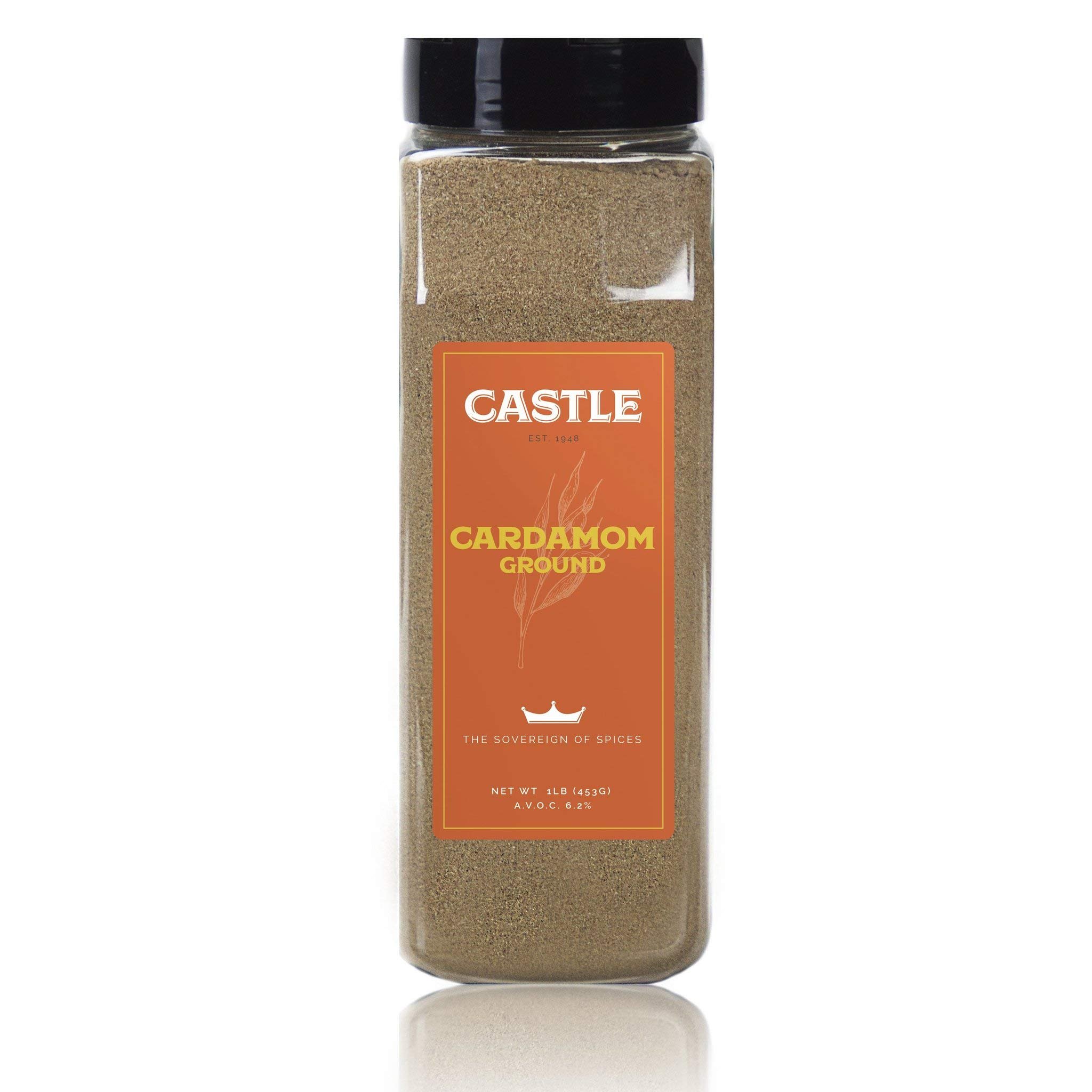 Castle Foods   GROUND CARDAMOM, 16 oz Premium Restaurant Quality