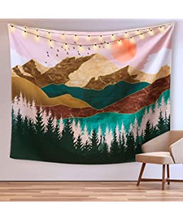 "CHARMINER Mountain Tapestry, Forest Tree Tapestry Sunset Tapestry Nature Landscape Tapestry Wall Hanging Art Nature Home Decorations for Living Room Bedroom Dorm Decor 59.1"" x 59.1"""