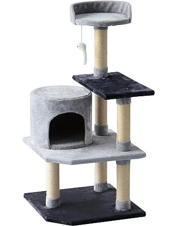 PawHut Árbol para Gatos Rascador Grande con Plataformas Casetas Ratón de Juego 100cm Tablero de partículas