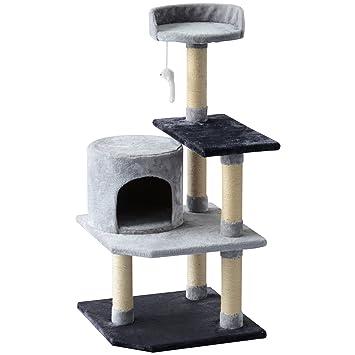 PawHut Árbol para Gatos Rascador Grande con Plataformas Casetas Ratón de Juego 100cm Tablero de partículas Cubierto de Felpa Beige: Amazon.es: Jardín