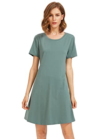 9848aeaa1797 Romwe Women s Tunic Swing T-Shirt Dress Short Sleeve Tie Dye Ombre Dress -  Green -  Amazon.co.uk  Clothing