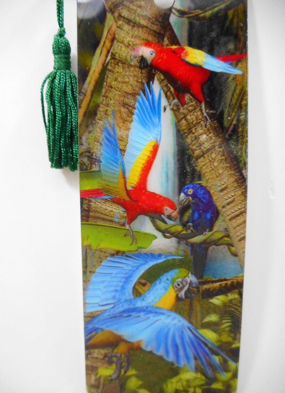 Lesezeichen Papagei Ara Afrika 15,5 cm Design Bookmarks mit Kordel Deko GG 3613