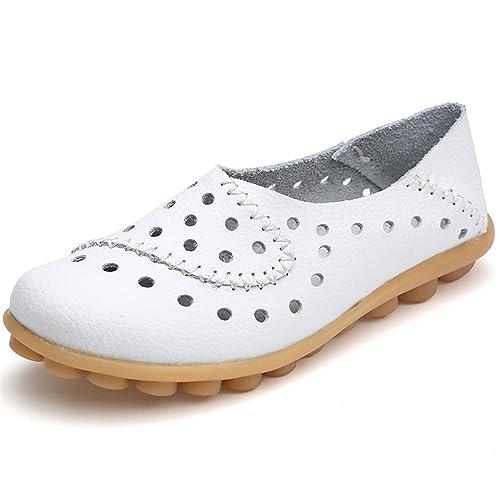 Amazon.com: baqijian zapatos de mujer piel auténtica zapatos ...