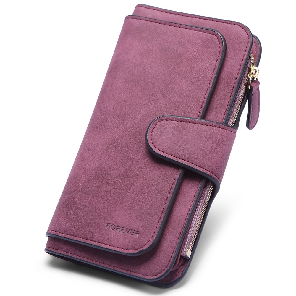 RFID Blocking Mattee Leather Wallet for Women Clutch Purse Bifold Long Designer Ladies Checkbook Multi Credit Card Holder Organizer with Coin Zipper Pocket wine red
