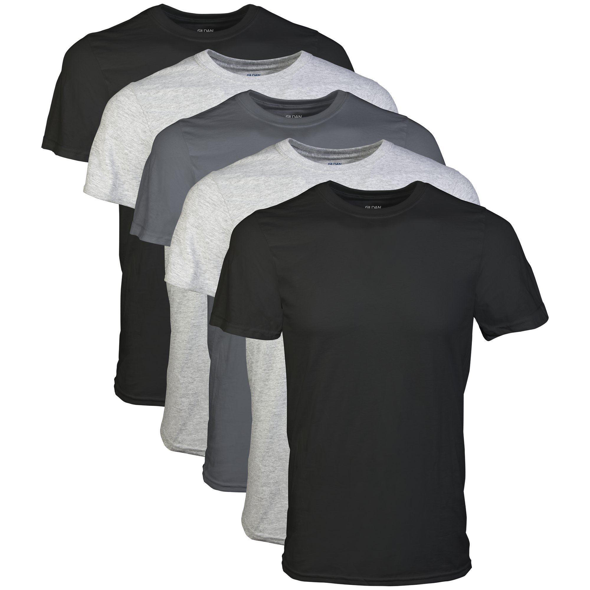 Gildan Men's Crew T-Shirt 5 Pack, Assortment, Medium