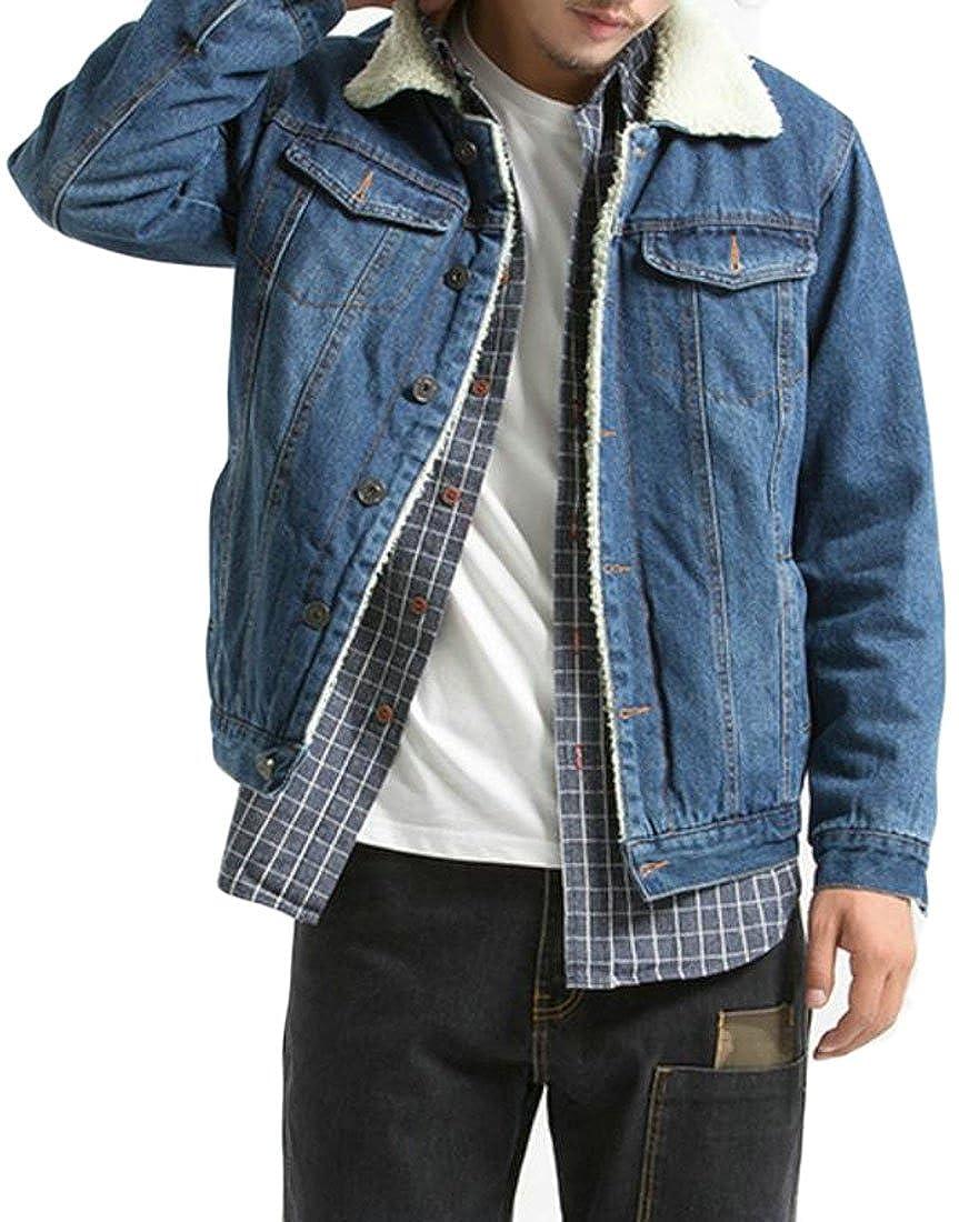 Cruiize Mens Classic Fleece Collor Lapel Denim Cowboy Button Jackets
