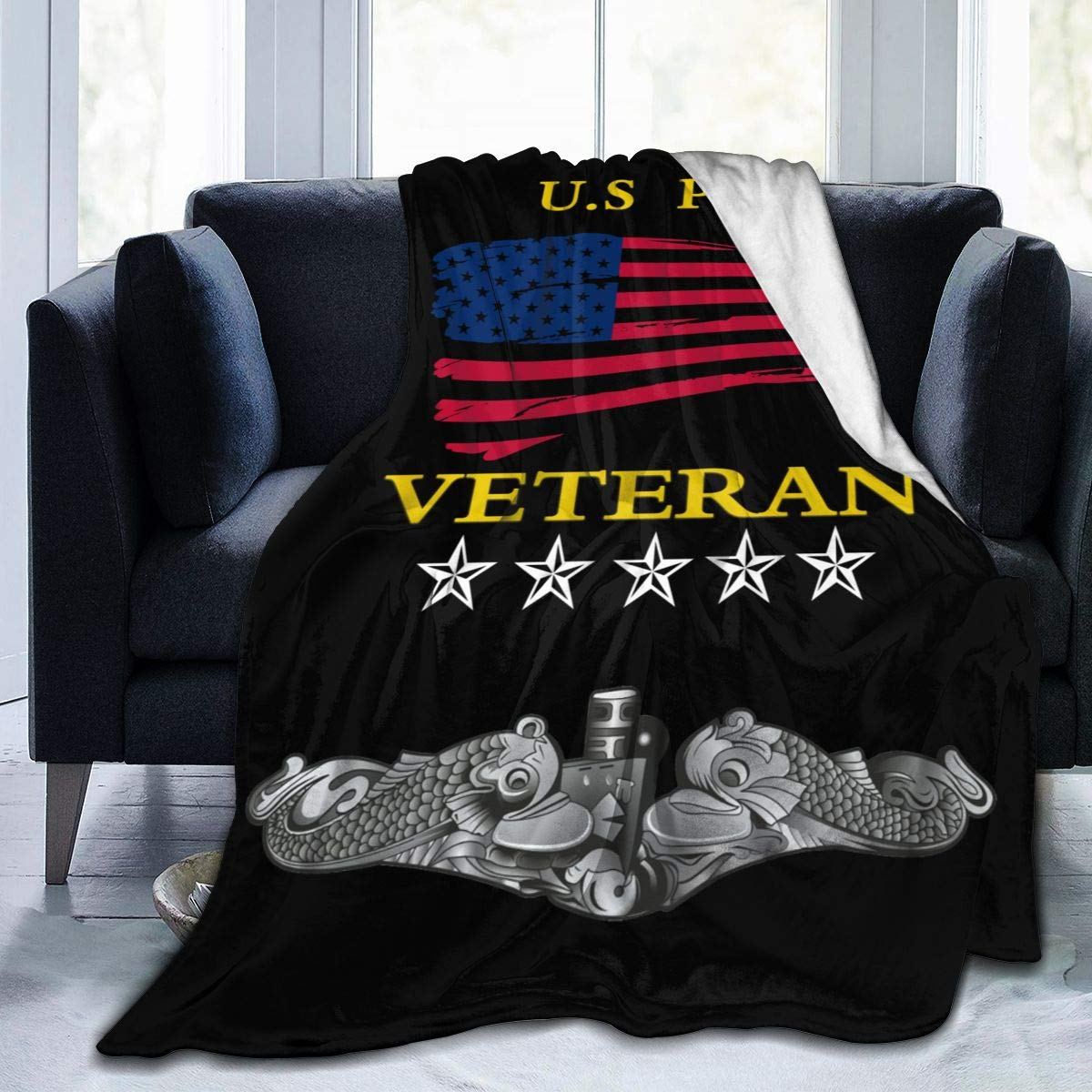 "Rhk-MKN US Navy Submarine Insignia Soft and Warm Throw Blanket Plush Bed Couch Living Room Fleece Blanket 50""x40""60""x50""80""x60"""