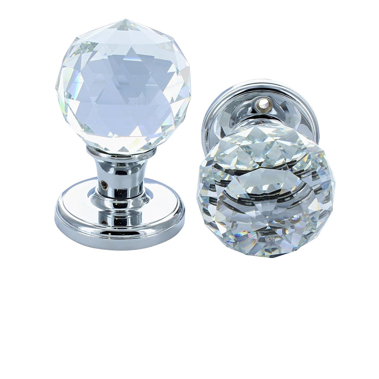 G Decor Tü rknauf, massiv, runder Kristallschnitt, facettiertes, klares Glas, Chrom-Finish, 60 mm, 1 Paar G Decor Ltd 1519