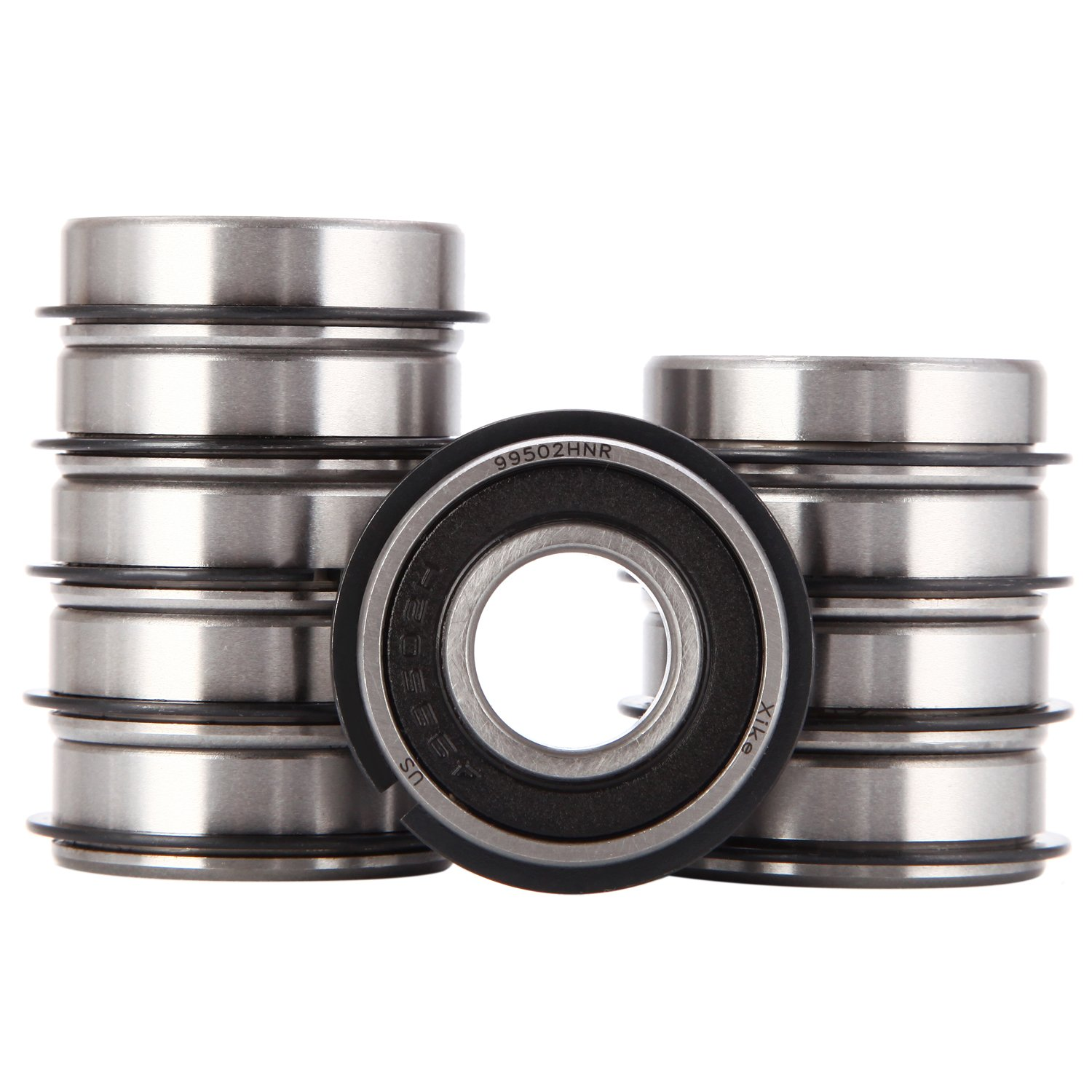 XiKe 10 Pack 99502HNR Ball Bearing ID 5/8'' x OD 1-3/8'' x Width 7/16'', Double Seal and Snap Ring, Stable Performance and Cost-Effective, Go Kart Wheel Mini Bikes, Mower and More.