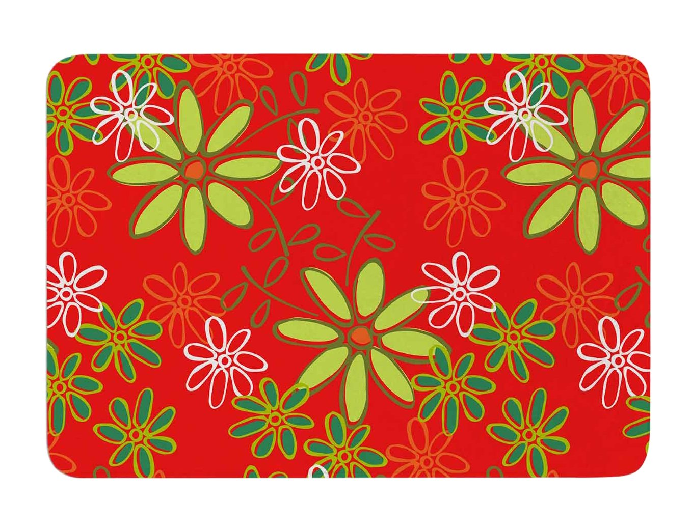 Kess InHouse Holly Helgeson Daisy Mae Red Floral Memory Foam Bath Mat, 17 by 24-Inch, 17' X 24'