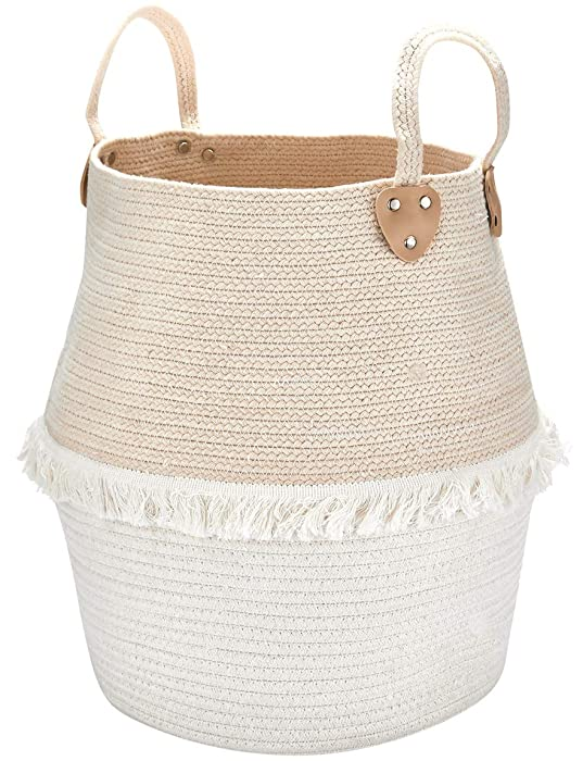 Rope Basket Woven Storage Basket - Laundry Basket Large 16 x 15 x 15 Inches Cotton Blanket Organizer, Baby Nursery Containers White Home Decor Gift