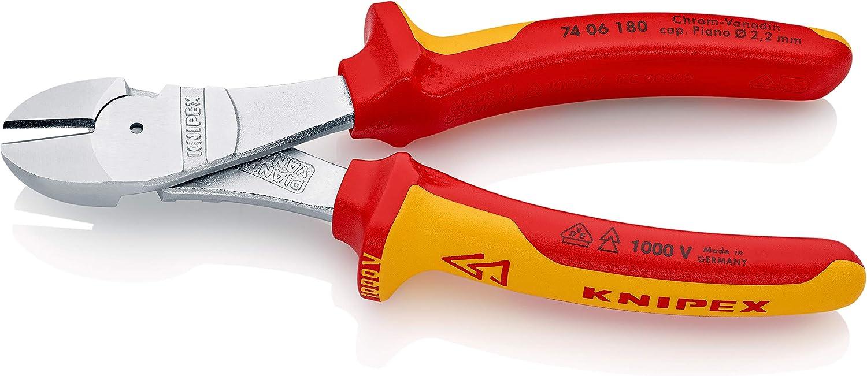 KNIPEX 74 06 180 Alicate de corte diagonal tipo extra fuerte cromado aislados con fundas en dos componentes, según norma VDE 180 mm: Amazon.es: Bricolaje y herramientas