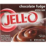 Jell-O Instant Pudding and Pie Filling, Chocolate Fudge, 3.9-Ounce Boxes (Pack of 6)