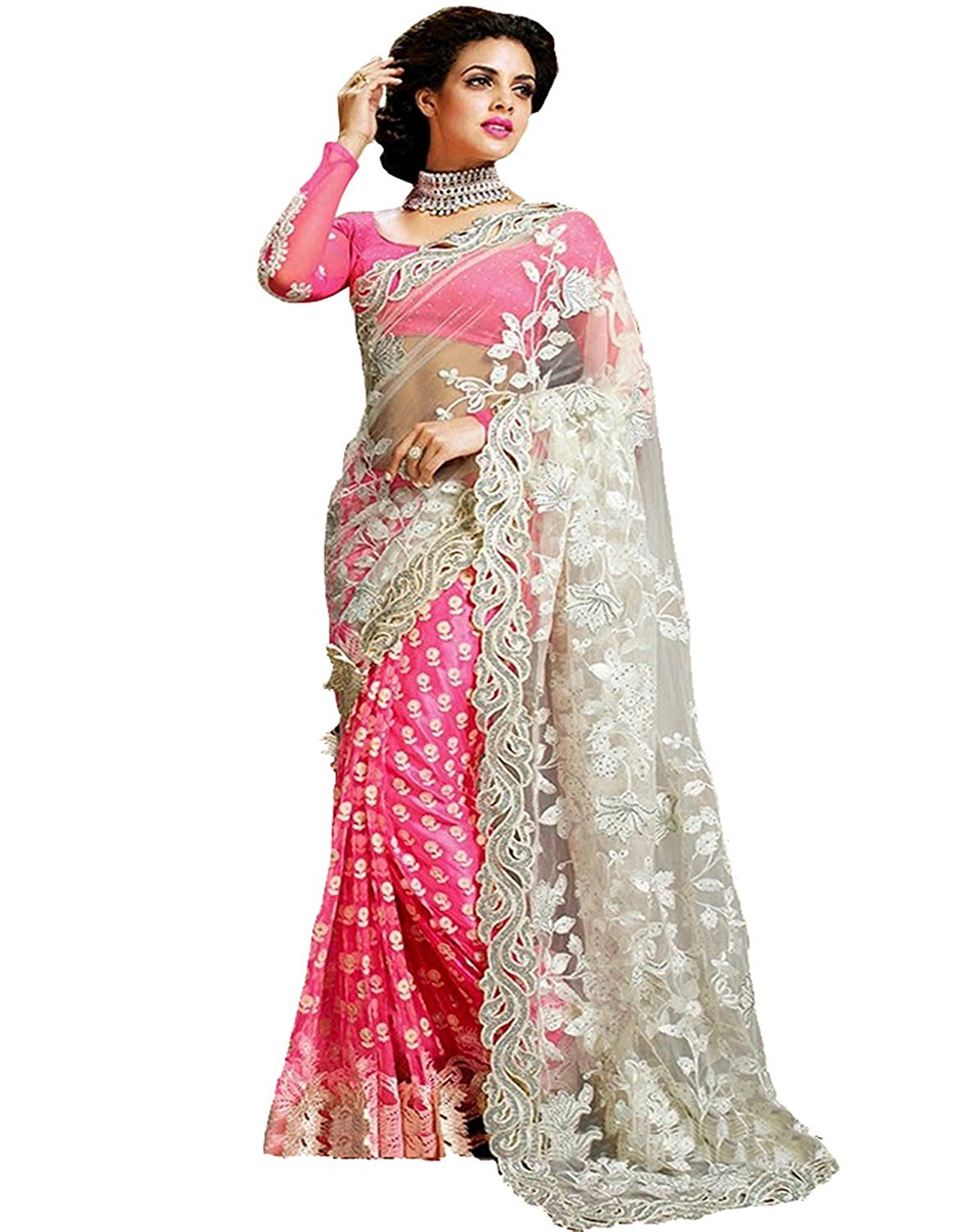 Femiss Net & Georgette Pink Saree With Blouse,Pink,Free size
