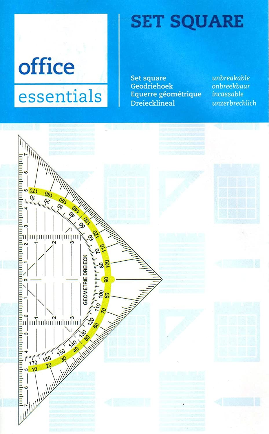 Office Essentials - Squadra geometrica, flessibile, infrangibile, da 16 cm DEMO
