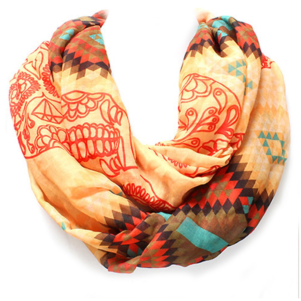 Black, Turquoise, or Goldenrod Tribal Sugar Skull Western Infinity Style Scarf from the WYO-HORSE Jewelry Collection (Goldenrod)