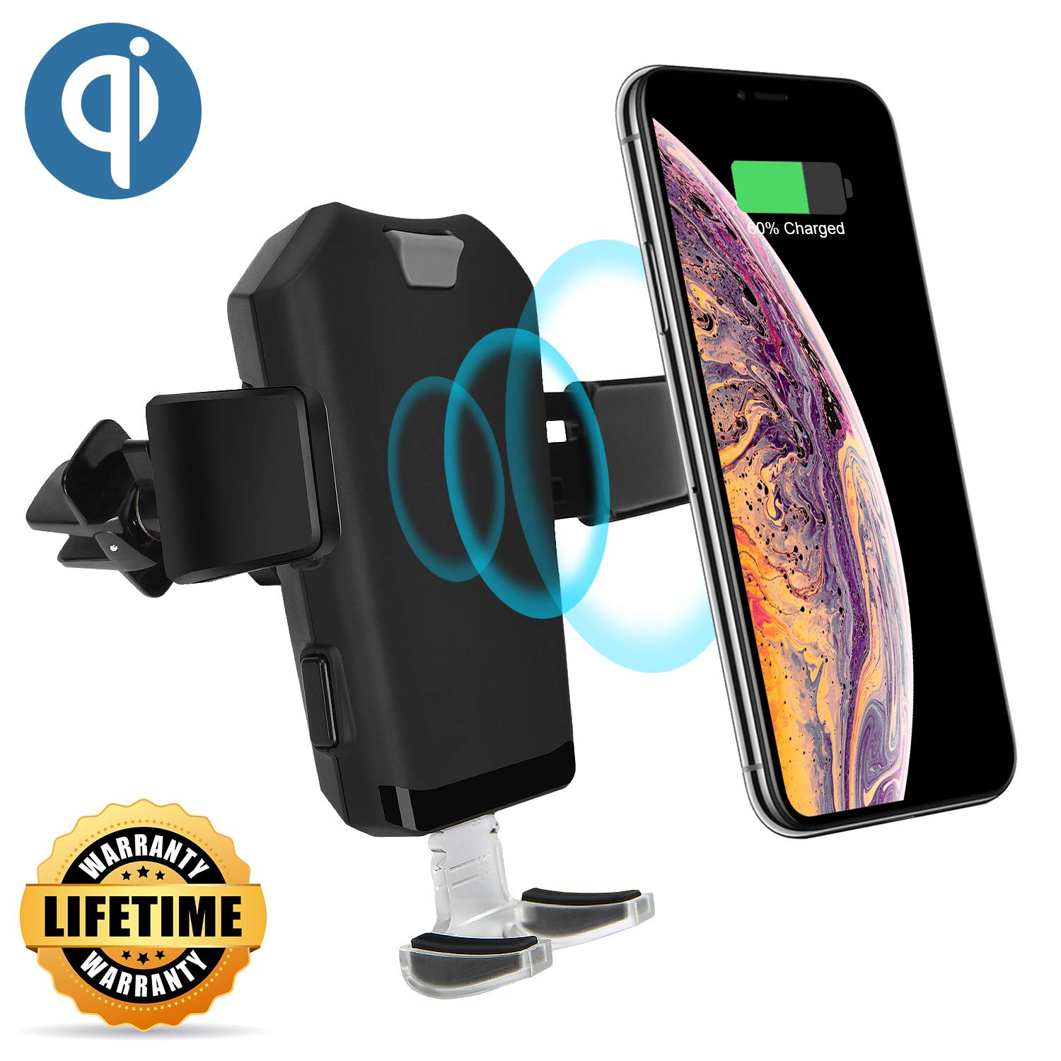 Automatic Clamping Mount with Air Vent Phone Holder Compatible iPhone X//Xs//Xs Max//8//8 Plus CUGear 10W Qi Fast Wireless Car Charger Samsung Galaxy Note 9// S9// S9+// S8// S8 and All Qi Enabled Phones 4351663879