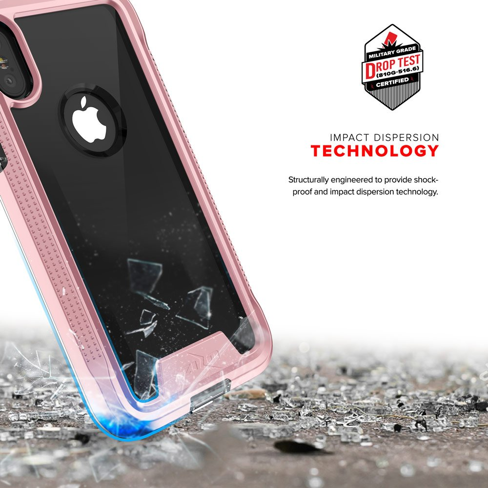 Zizo ION Series compatible with iPhone X Case Military Grade Drop Tested with Tempered Glass Screen Protector ROSE GOLD CLEAR by Zizo (Image #6)