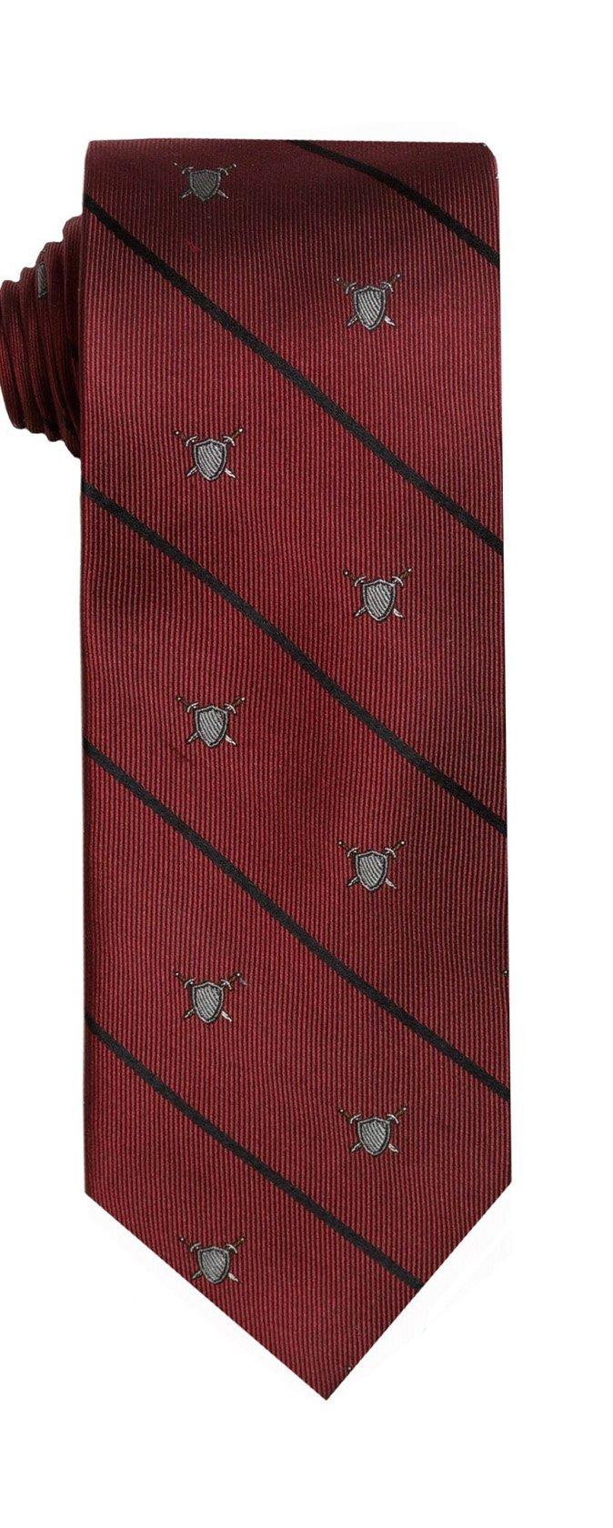 SPREZZA Men's Red Coat of Arms Conversational Tie Classic 2.75 inch Slim Silk Cotton Necktie