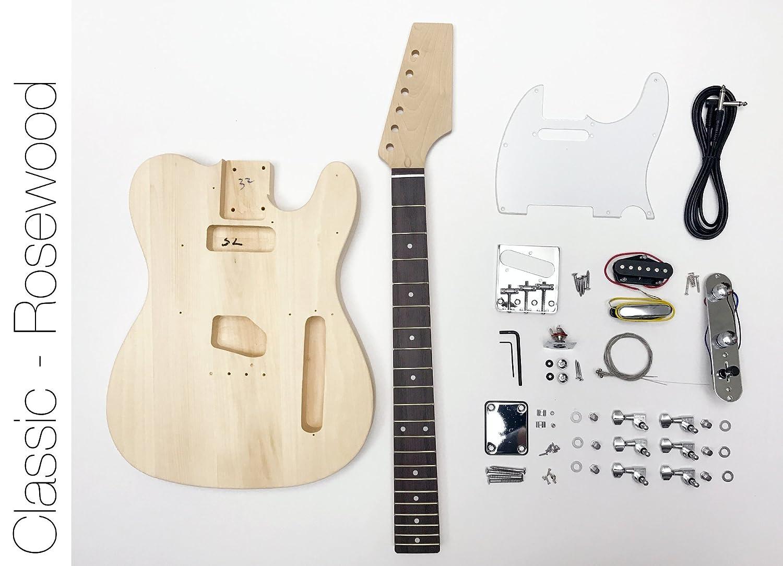DIY Kit de guitarra eléctrica Tele estilo construir su propia guitarra palisandro: Amazon.es: Instrumentos musicales
