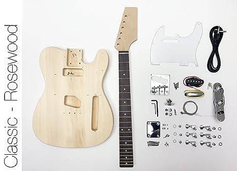 DIY Kit de guitarra eléctrica Tele estilo construir su propia guitarra palisandro