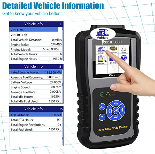 KZYEE KC601 heavy duty truck scanner is ideal for the DIYers or technicians