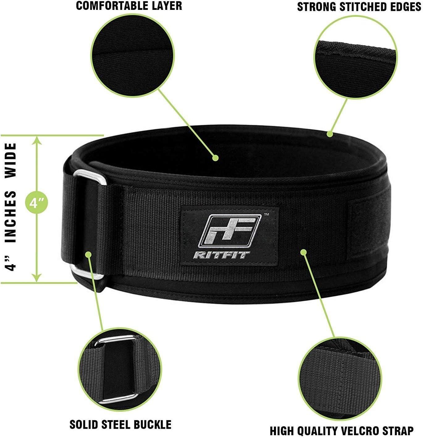 RitFit 4 pulgadas soporte lumbar firme y c/ómodo con protecci/ón contra lesiones en la espalda color negro para hombres y mujeres limpio Cintur/ón de levantamiento de pesas para sentadillas ol/ímpico