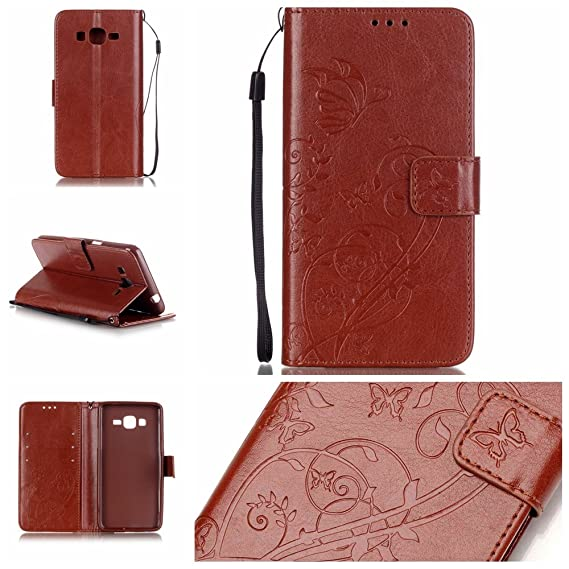 new style 8aef4 b2510 Galaxy Grand Prime Case, G530 Case, Easytop Emboss Flower Butterfly Premium  PU Leather Wallet Case with Wrist Strap Flip Case Cover for Samsung Galaxy  ...