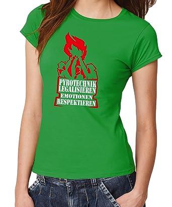 Pyrotechnik legalisieren -- Girls T-Shirt Kelly Green/Rotweiß Gr.