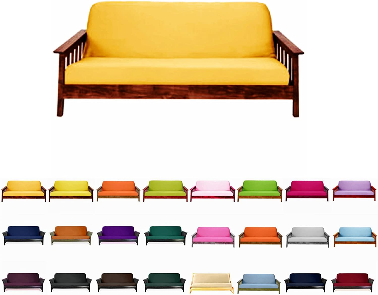 Magshion@Futon Cover Slipcover (Yellow, Full (54x75 in.))