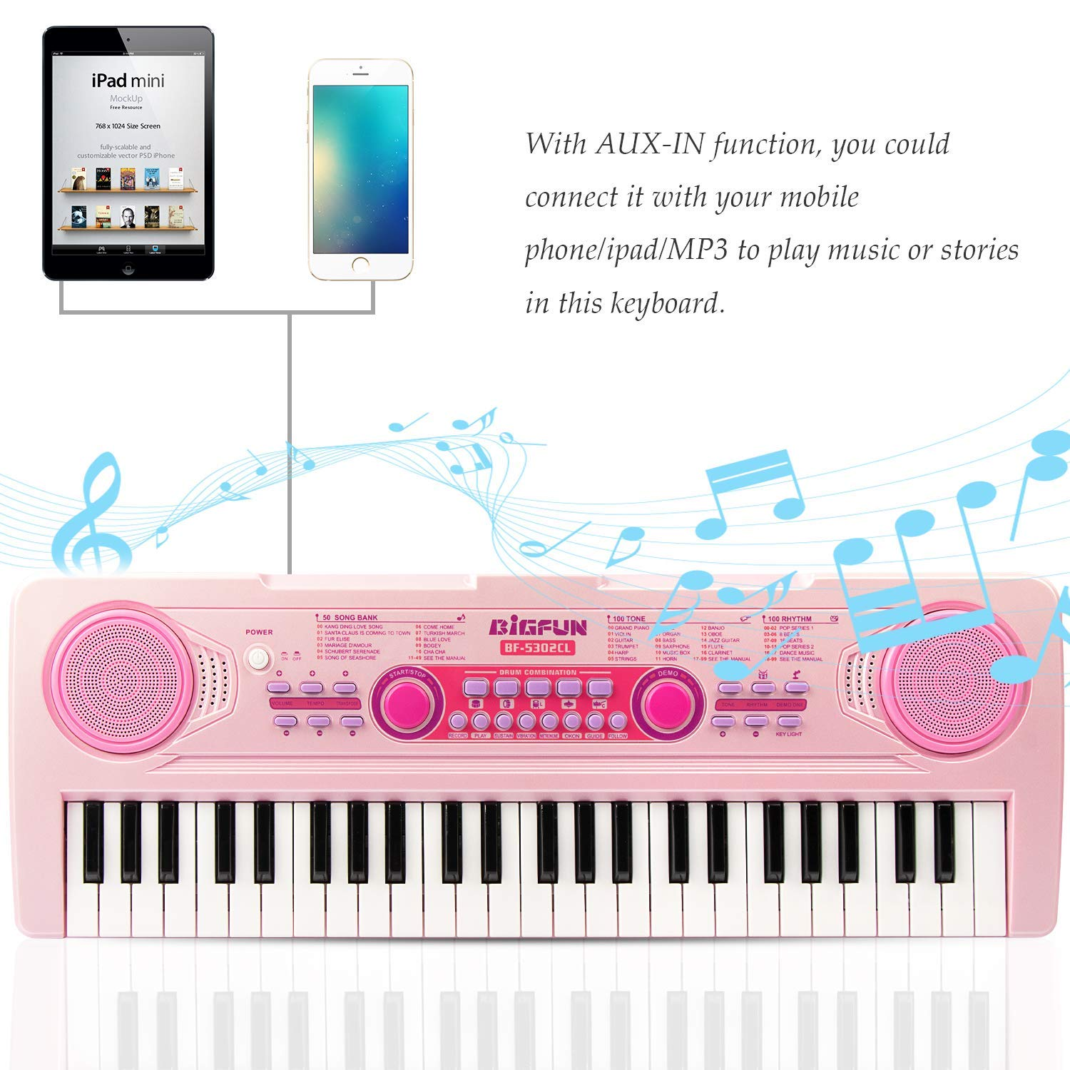 SAOCOOL Piano Keyboard, 49 Keys Multi-Function Charging Electronic Kids Piano Keyboard Music Educational Toy for Children Over 3 Years Old (Pink) by SAOCOOL (Image #2)