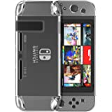 MoKo Case for Nintendo Switch, Segment Design Protective Set Crystal Hard Back Clear Cover, Shock-Absorption and Anti-Scratch, for Nintendo Switch Console (2017) - Crystal Clear
