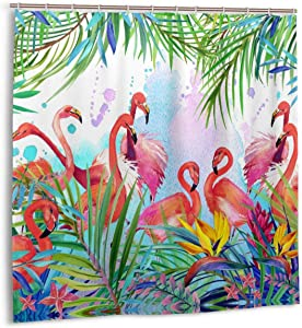 Pink Flamingo Shower Curtain Tropical Jungle Green Coconut Palm Leaves and Colorful Floral Flower Watercolor Shower Curtain Exotic Bird Garden Theme Polyester Fabric Waterproof Bathroom Decor