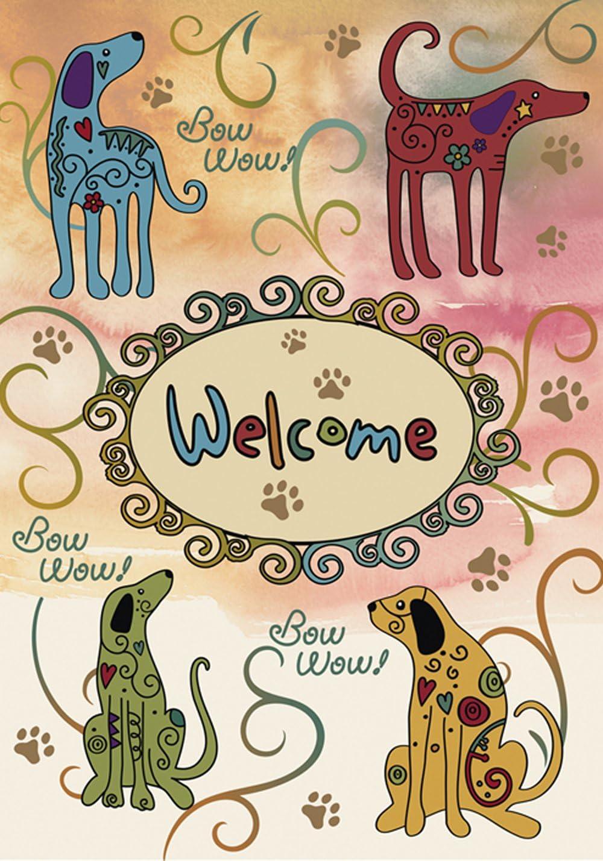 Toland Home Garden Bow Wow Welcome 12.5 x 18 Inch Decorative Puppy Dog Animal Paw Swirl Flower Garden Flag