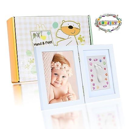 COOLJOY Kit De Marco De Huellas De Mano Y Pie De Bebe Para Niño Y Niña - Regalo De Para Recién Nacido - Blanco(Pequeño)