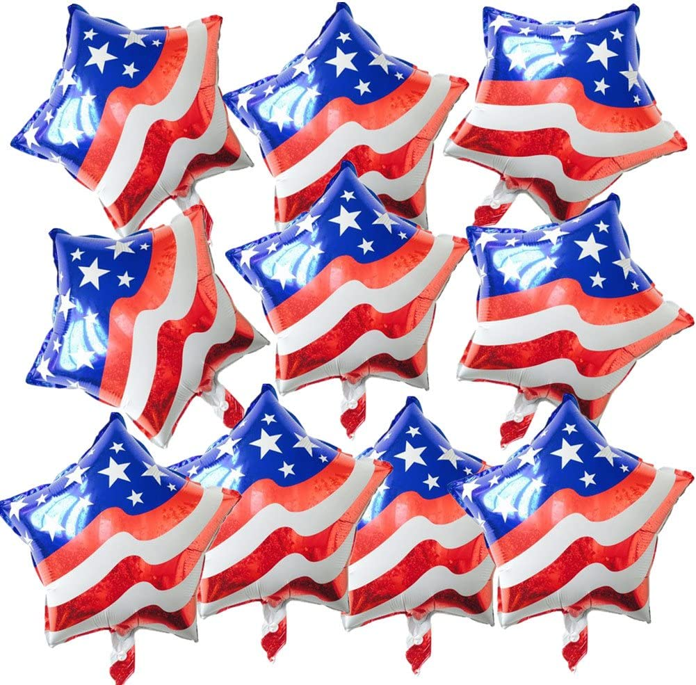 Amazon Com 10pcs Red White And Blue Usa Flag Foil Balloon Star Shaped Mylar Balloons For Independence Day Party Favours Garden Outdoor