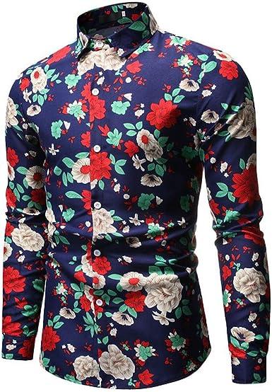 SXZG Camisa de Flores de Manga Larga con Estampado de Solapa Casual para Hombres: Amazon.es: Ropa y accesorios