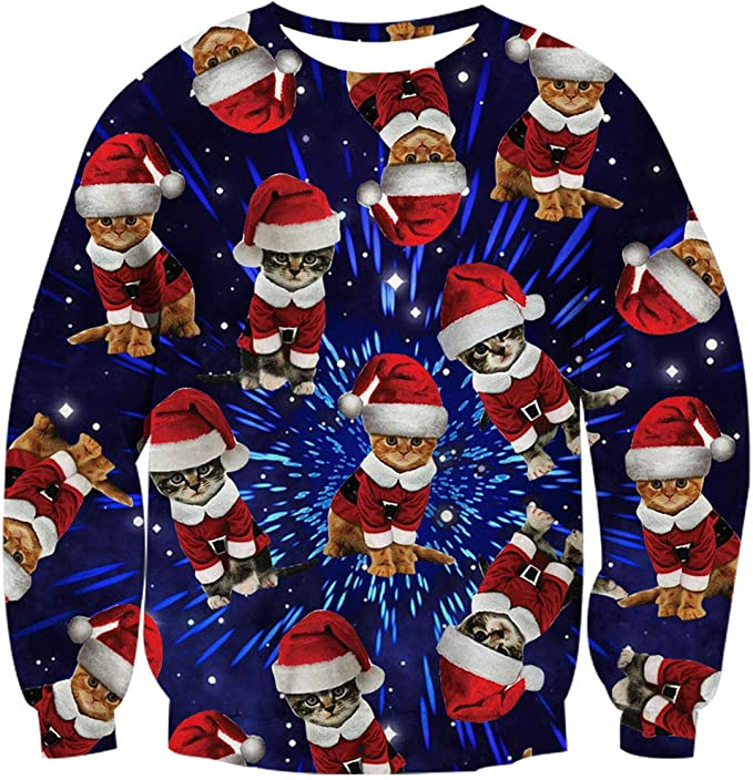 Loveternal Mens Womens Ugly Christmas Sweater Crewneck Sweatshirt Casual Pullover Shirt
