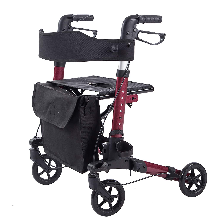 ELENKER LightWeight Rollator Walker,Foldable Stable Compact Rolling Walker with Seat,Detachable Storage Bag ,Red by ELENKER