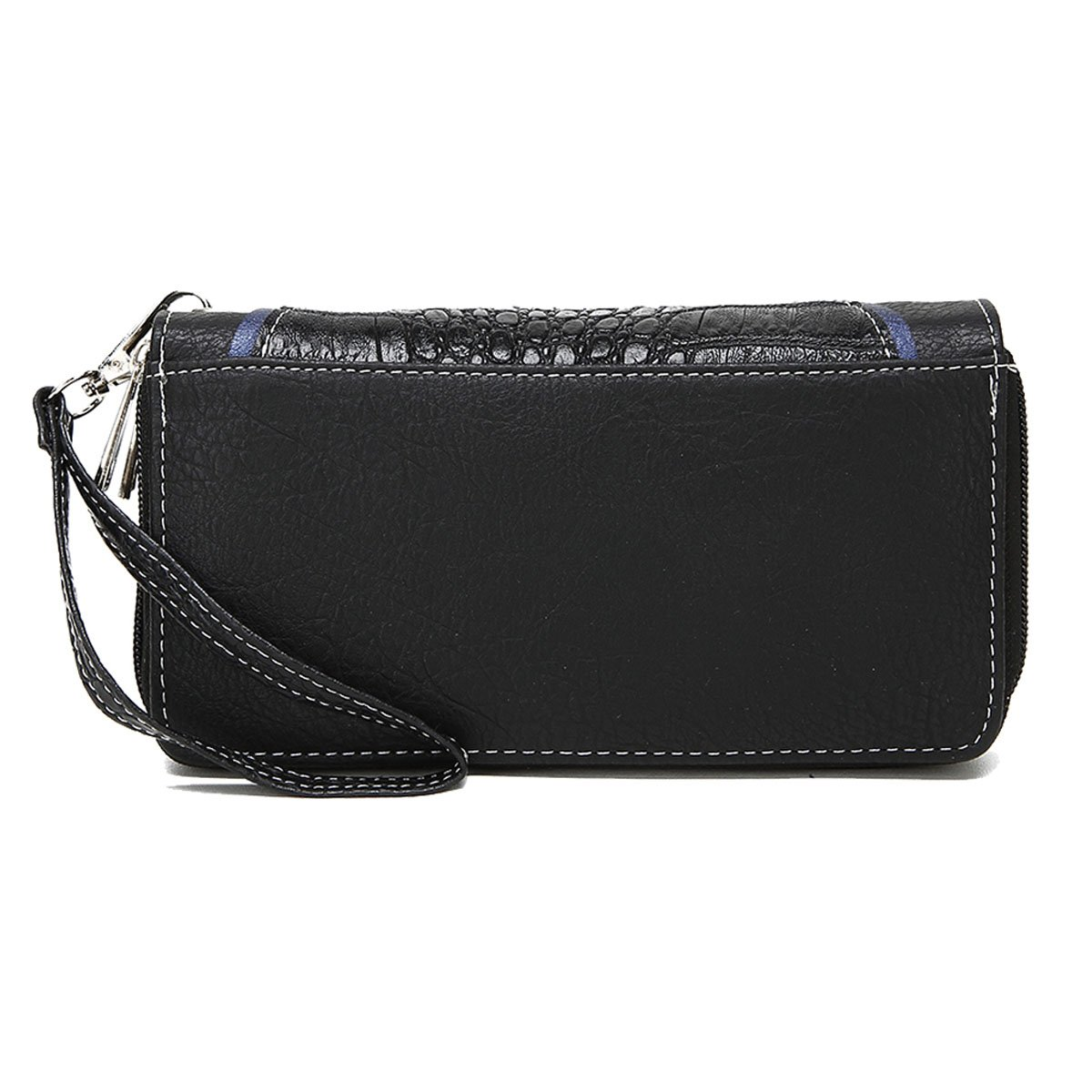 Conchos Studded Crocodile Laser Cut Cowgirl Western Style Country Purse Wrist Strap Women Wristlet Wallet (Black) by Cowgirl Trendy (Image #3)