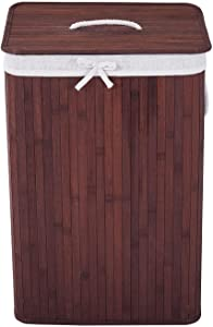 COZAYH 72L All-Natural Bamboo Laundry Hamper with Lid, String Handles and Removable Liner, Foldable Storage Basket, Easily Transport Laundry Bin, Rectangular in Brown/Gray Bamboo Color (Brown)